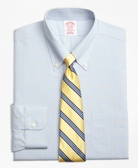 Madison Classic-Fit Dress Shirt, Non-Iron Triple Overcheck Yellow