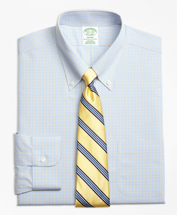 Milano Slim-Fit Dress Shirts, Non-Iron Triple Overcheck Yellow