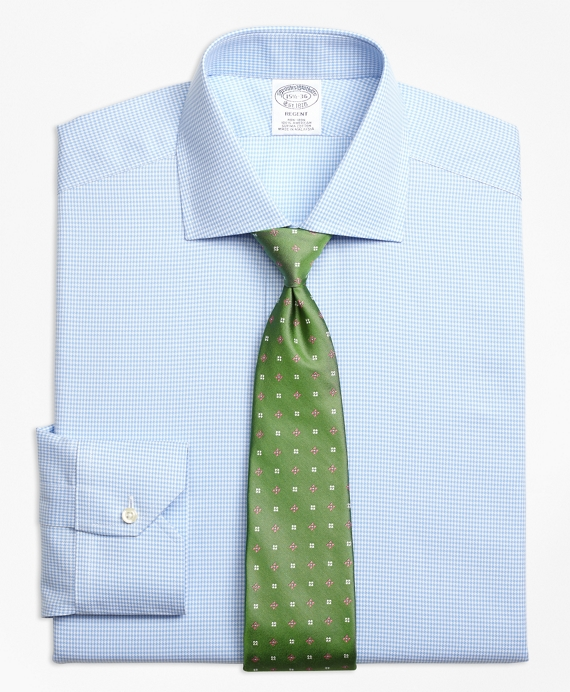 Regent Fitted Dress Shirt, Non-Iron Royal Oxford Houndstooth Light Blue
