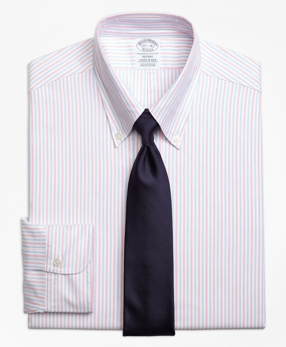 Original Polo® Button-Down Oxford Regent Fitted Dress Shirt, Alternating Bengal Stripe Pink