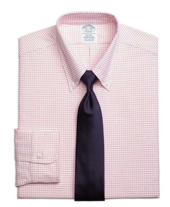 Original Polo® Button-Down Oxford Regent Fitted Dress Shirt, Small Windowpane Pink