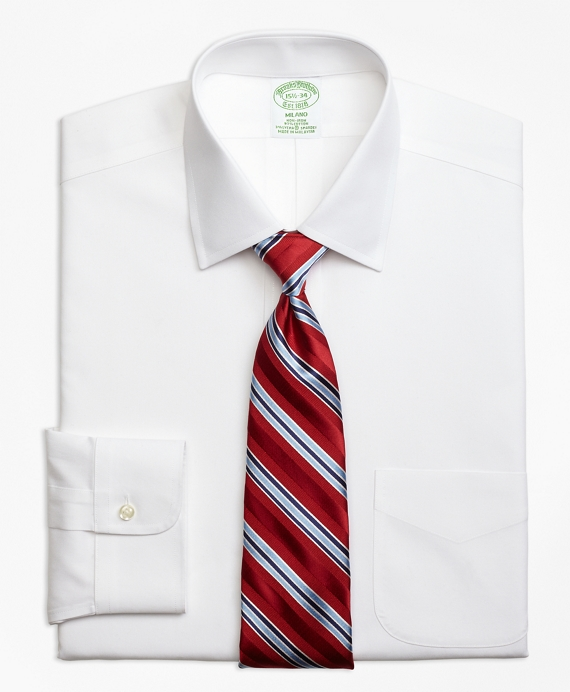 Stretch Milano Slim-Fit Dress Shirt, Non-Iron Spread Collar White