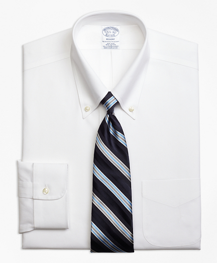 Stretch Regent Fitted Dress Shirt, Non-Iron Pinpoint Button-Down Collar