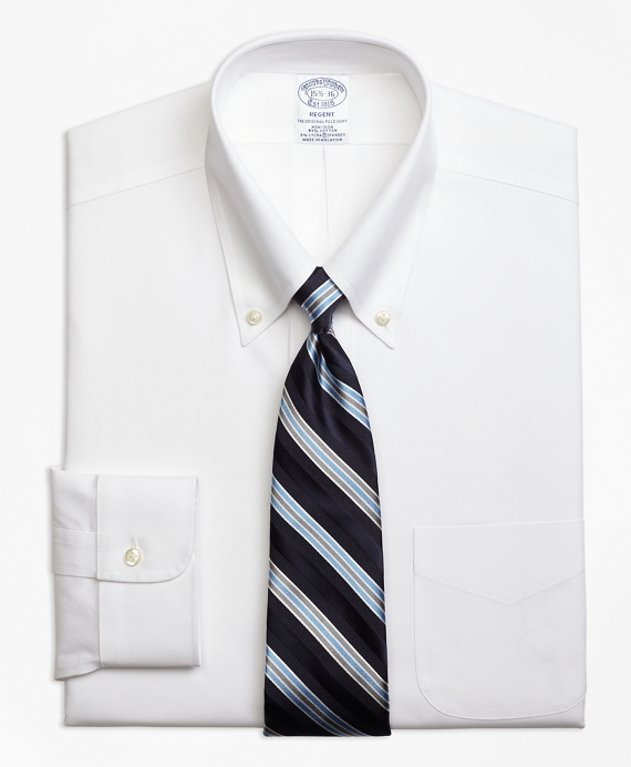 Stretch Regent Fitted Dress Shirt, Non-Iron Button-Down Collar White