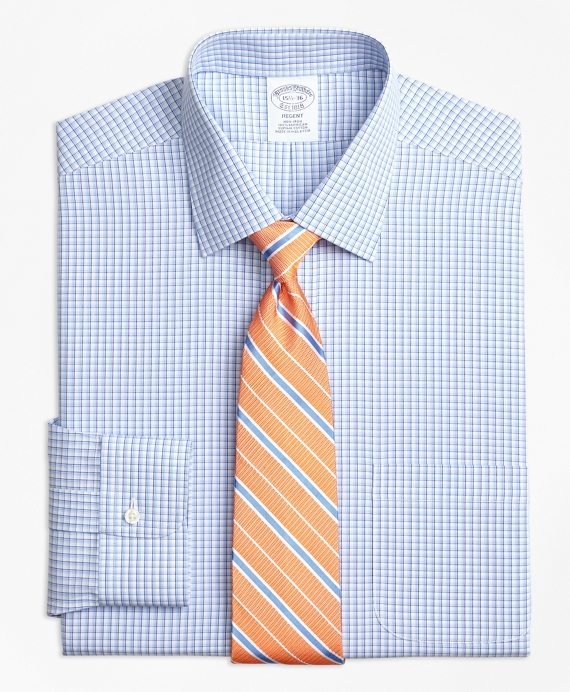 Regent Regular-Fit Dress Shirt, Non-Iron Tonal Sidewheeler Check Blue
