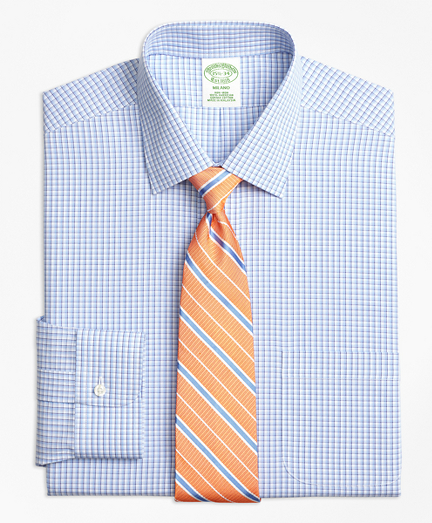 Milano Slim-Fit Dress Shirt, Non-Iron Tonal Sidewheeler Check