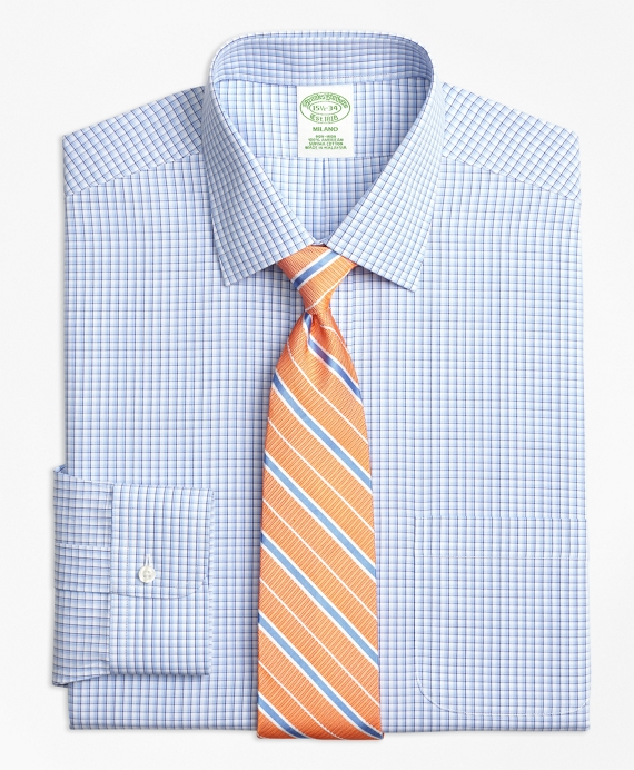 Milano Slim-Fit Dress Shirt, Non-Iron Tonal Sidewheeler Check Blue