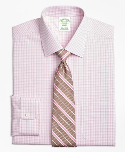 Milano Slim-Fit Dress Shirt, Non-Iron Tonal Sidewheeler Check