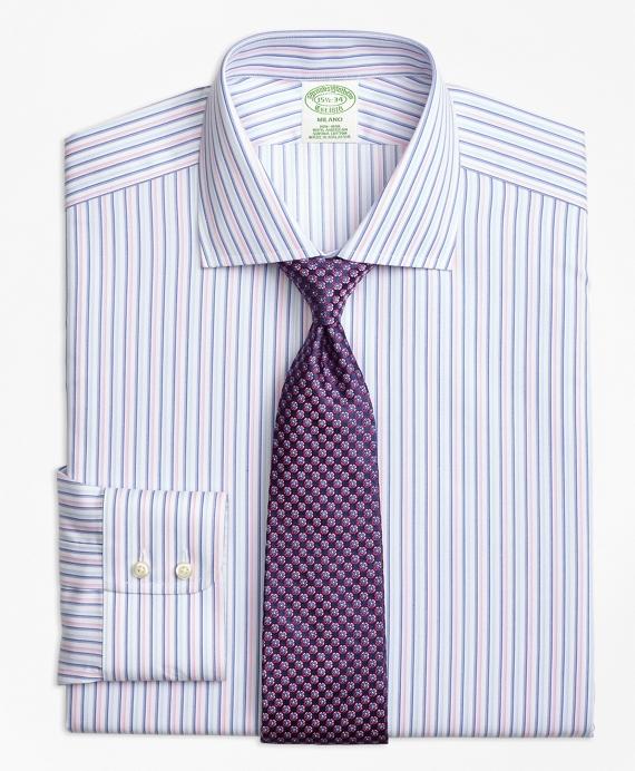 Milano Slim-Fit Dress Shirt, Non-Iron Alternating Twin Stripe Pink