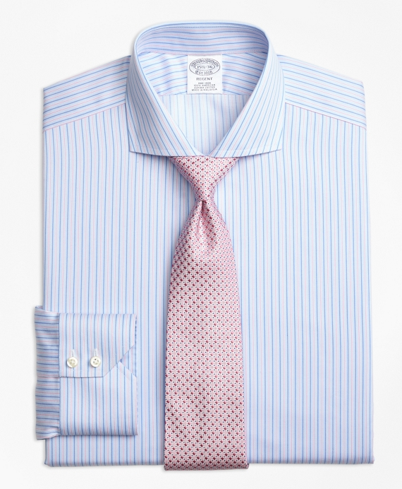 Regent Fitted Dress Shirt, Non-Iron Split Stripe Blue-Pink