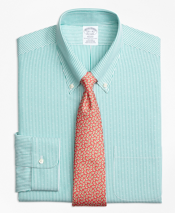 Regent Fitted Dress Shirt, Non-Iron Dobby Candy Stripe Green