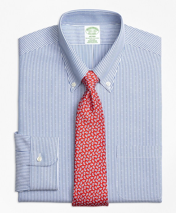 Milano Slim-Fit Dress Shirt, Non-Iron Dobby Candy Stripe Navy