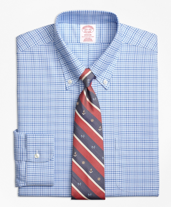 BrooksCool® Madison Classic-Fit Dress Shirt, Non-Iron Glen Plaid Blue