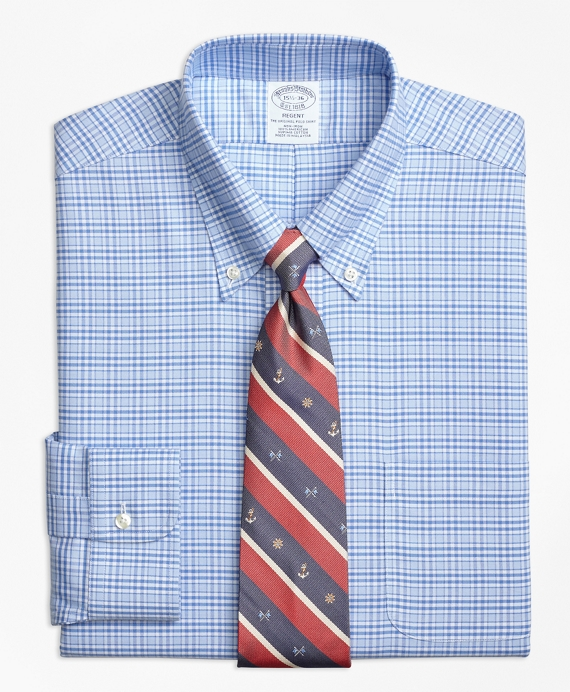 BrooksCool® Regent Fitted Dress Shirt, Non-Iron Glen Plaid Blue