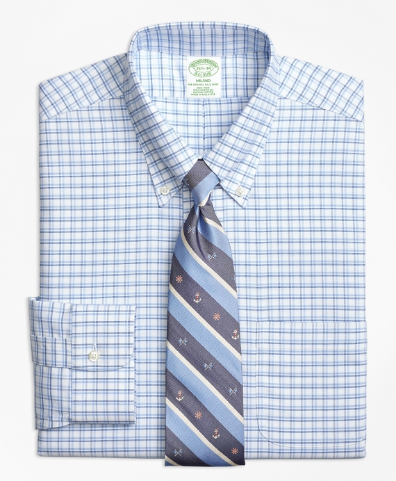 BrooksCool® Milano Slim-Fit Dress Shirt, Non-Iron Framed Shadow Check Blue