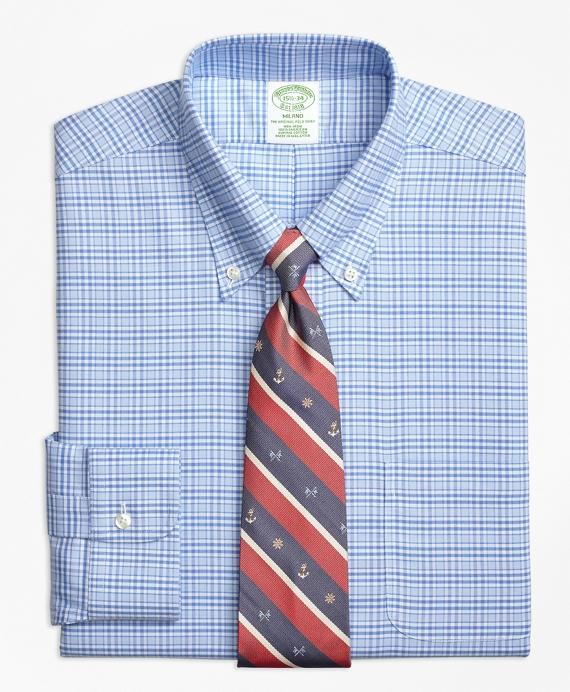 BrooksCool® Milano Slim-Fit Dress Shirt, Non-Iron Glen Plaid Blue