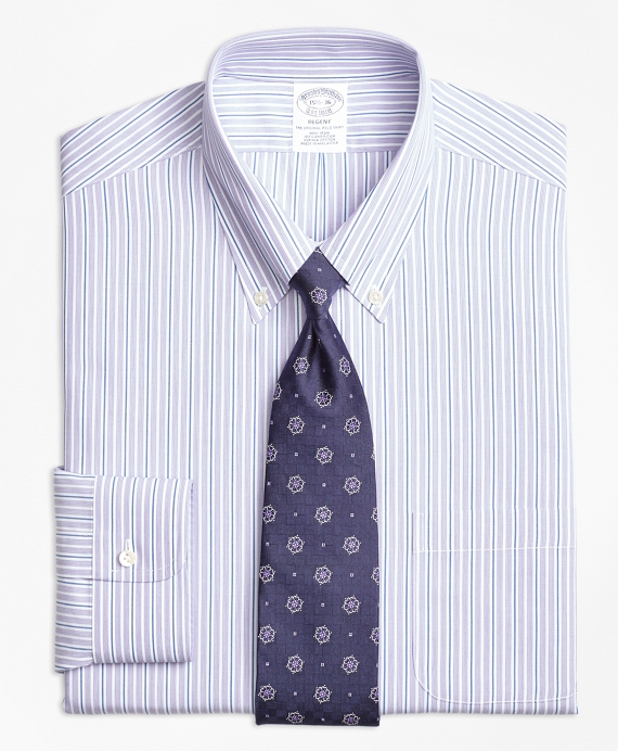 Regent Regular-Fit Dress Shirt, Non-Iron Double Stripe Purple
