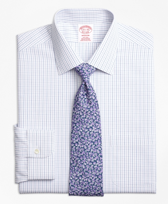 Madison Classic-Fit Dress Shirt, Non-Iron Alternating Windowpane Purple
