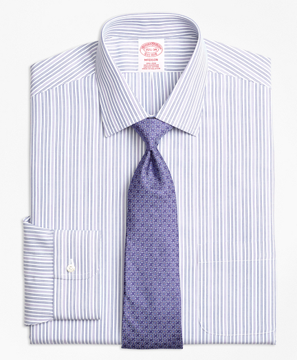 Madison Classic-Fit Dress Shirt, Non-Iron Alternating Double Stripe