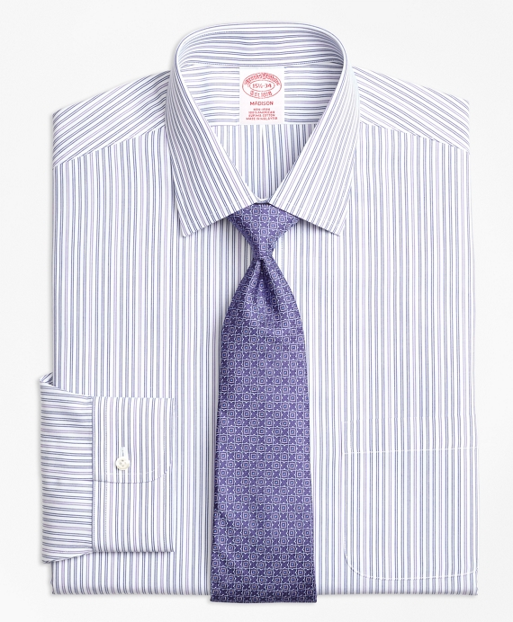Madison Relaxed-Fit Dress Shirt, Non-Iron Alternating Double Stripe Purple