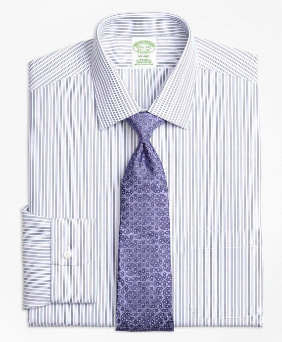 Milano Slim-Fit Dress Shirt, Non-Iron Alternating Double Stripe Purple
