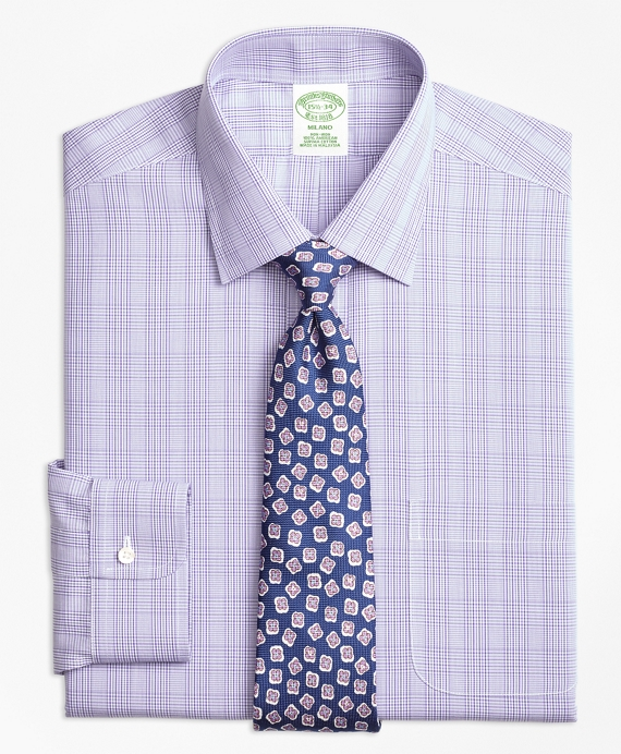 Milano Slim-Fit Dress Shirt, Non-Iron Tonal Plaid Purple
