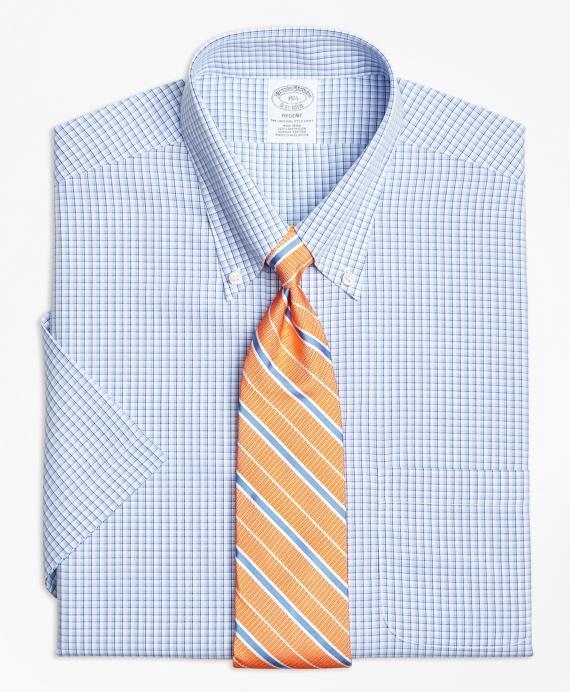 Regent Fitted Dress Shirt, Non-Iron Tonal Sidewheeler Check Short-Sleeve Blue