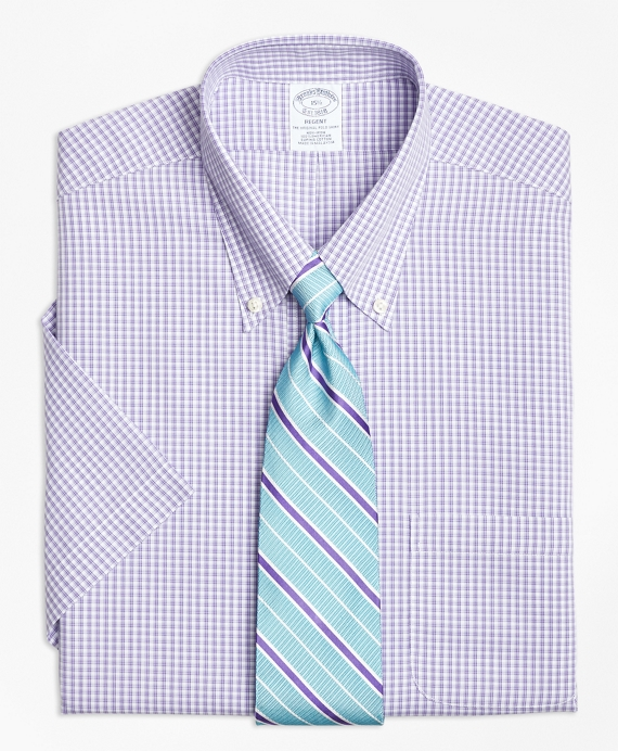 Regent Fitted Dress Shirt, Non-Iron Tonal Sidewheeler Check Short-Sleeve Purple