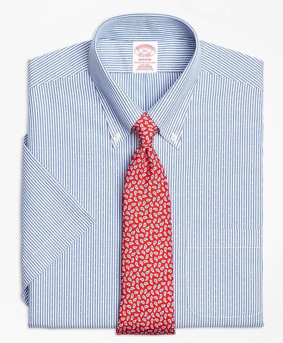 Madison Classic-Fit Dress Shirt, Non-Iron Dobby Candy Stripe Short-Sleeve Navy