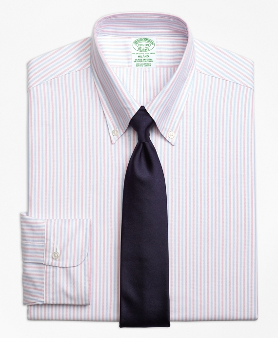Original Polo® Button-Down Oxford Milano Slim-Fit Dress Shirt, Alternating Bengal Stripe Pink
