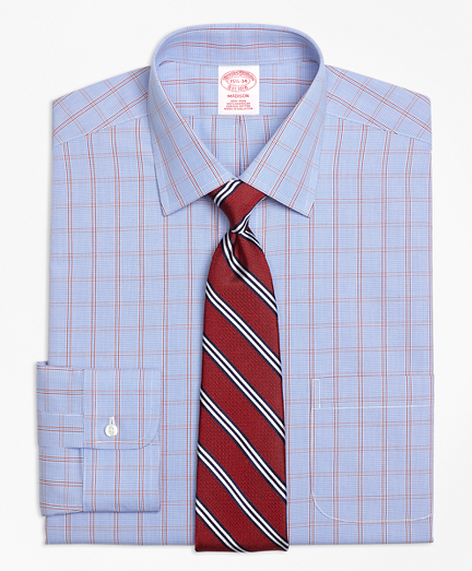 Madison Classic-Fit Dress Shirt, Non-Iron Framed Houndstooth