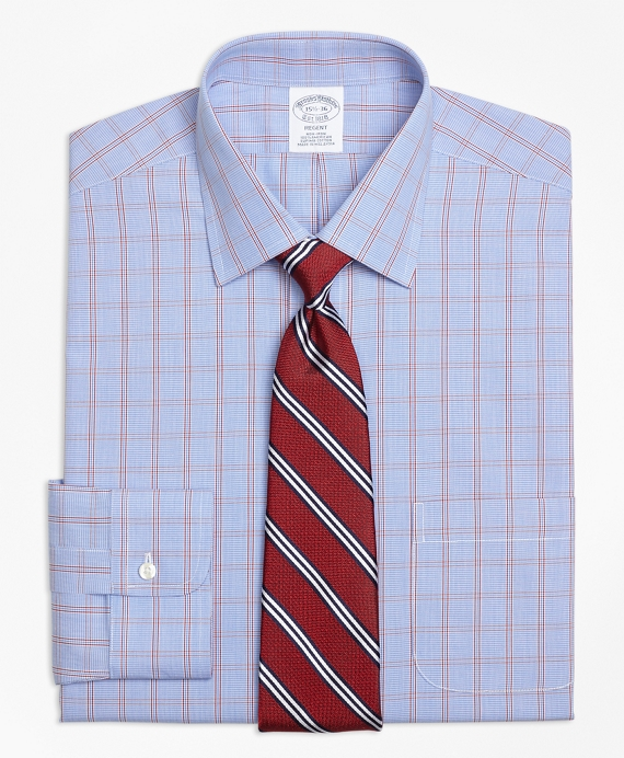 Regent Fitted Dress Shirt, Non-Iron Framed Houndstooth Blue-Red
