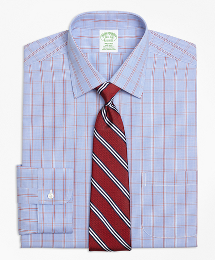 Milano Slim-Fit Dress Shirt, Non-Iron Framed Houndstooth