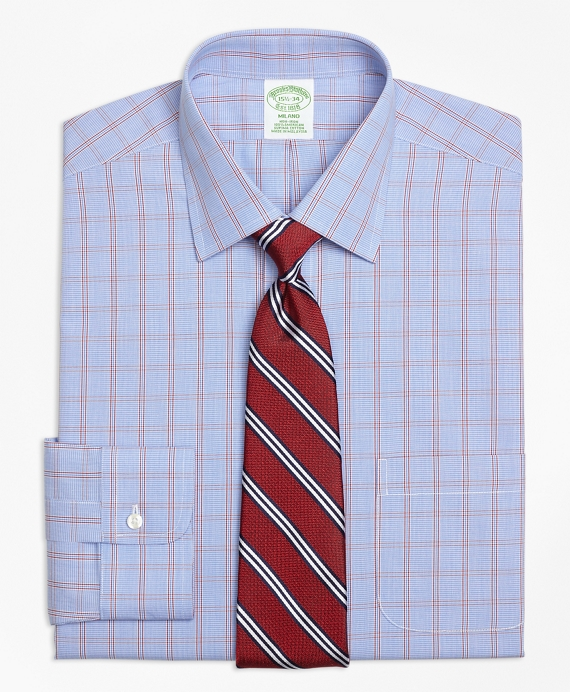 Milano Slim-Fit Dress Shirt, Non-Iron Framed Houndstooth Blue-Red