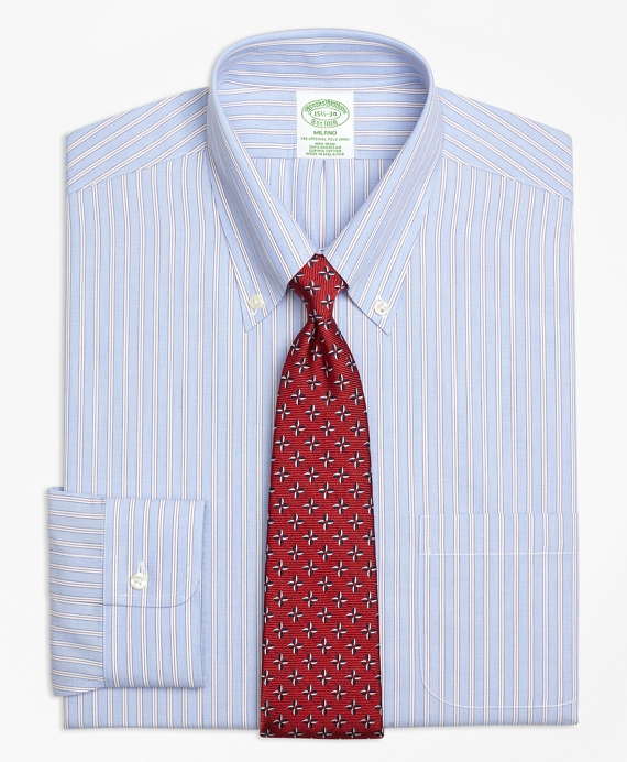 Milano Slim-Fit Dress Shirt, Non-Iron Framed Stripe Blue
