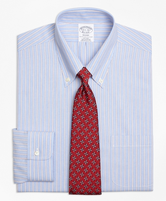 Regent Fitted Dress Shirt, Non-Iron Framed Stripe Blue