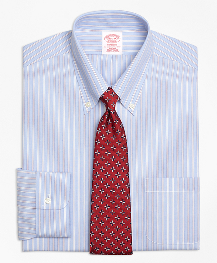 Madison Relaxed-Fit Dress Shirt, Non-Iron Framed Stripe