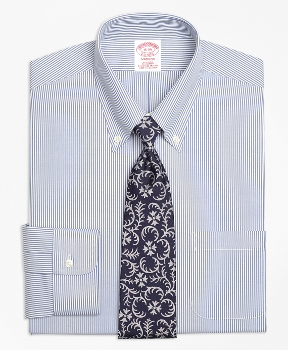 Stretch Madison Classic-Fit Dress Shirt, Non-Iron Candy Stripe Navy