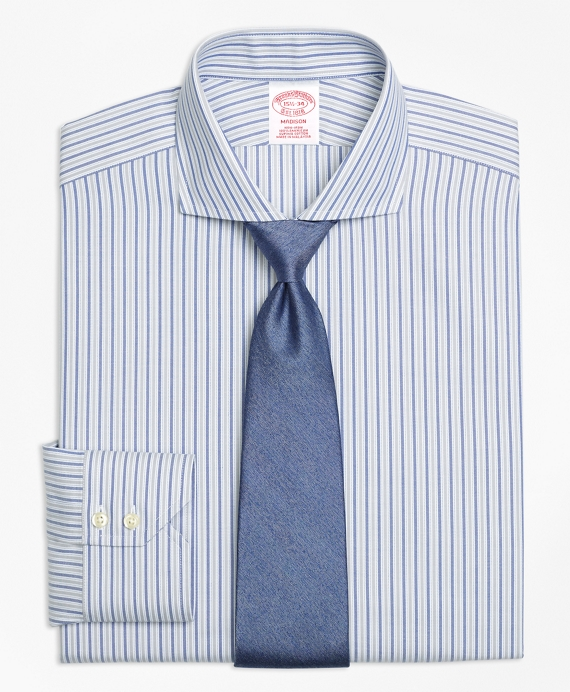 Madison Classic-Fit Dress Shirt, Non-Iron Herringbone Alternating Stripe Grey-Blue