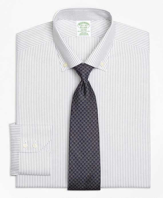Milano Slim-Fit Dress Shirt, Non-Iron Narrow Split Stripe Grey