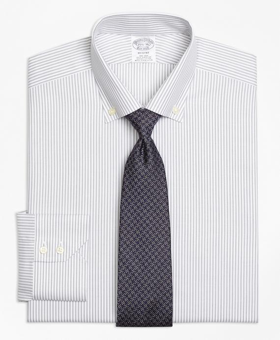 Regent Fitted Dress Shirt, Non-Iron Narrow Split Stripe Grey