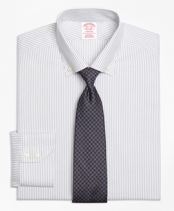 Madison Classic-Fit Dress Shirt, Non-Iron Narrow Split Stripe Grey