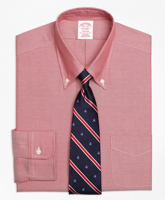 Madison Classic-Fit Dress Shirt, Non-Iron Dobby Red