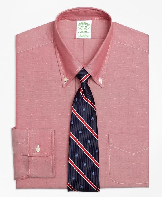 Milano Slim-Fit Dress Shirt, Non-Iron Dobby Red