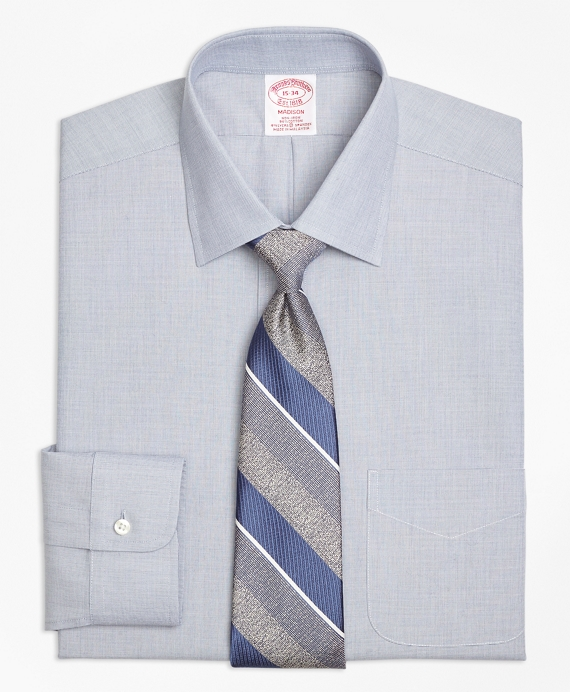 Stretch Madison Classic-Fit Dress Shirt, Non-Iron End-on-End Navy