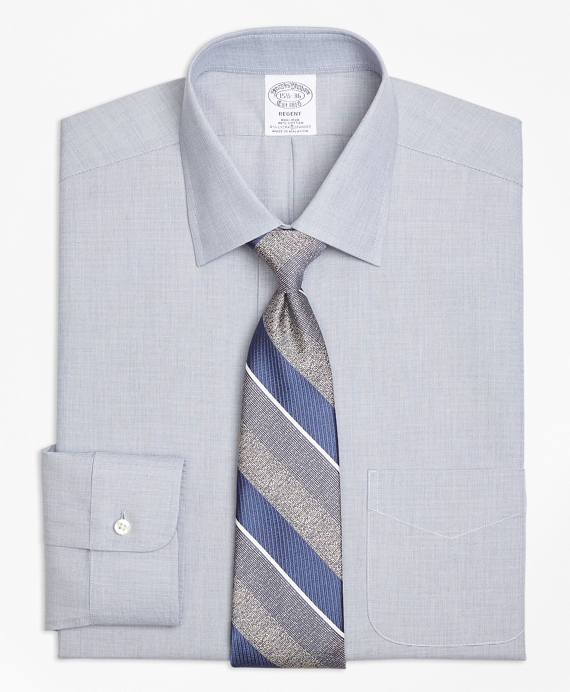 Stretch Regent Fitted Dress Shirt, Non-Iron End-on-End Navy