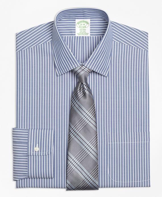 Stretch Milano Slim-Fit Dress Shirt, Non-Iron Ground Stripe Navy