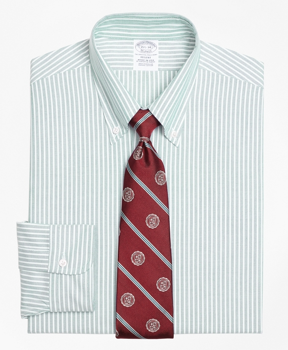 Original Polo® Button-Down Oxford Regent Fitted Dress Shirt, Ground Stripe Green