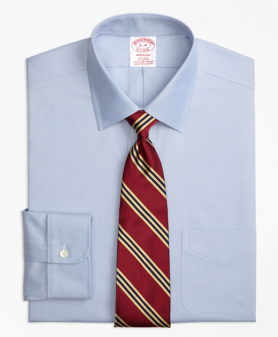 Stretch Madison Relaxed-Fit Dress Shirt, Non-Iron Pinpoint Spread Collar Blue