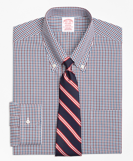 Madison Classic-Fit Dress Shirt, Non-Iron Two-Color Gingham